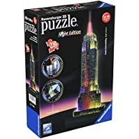 Ravensburger 12566 1 - Empire State Building, Night Special Edition, Puzzle 3D Building con LED, 216 Pezzi