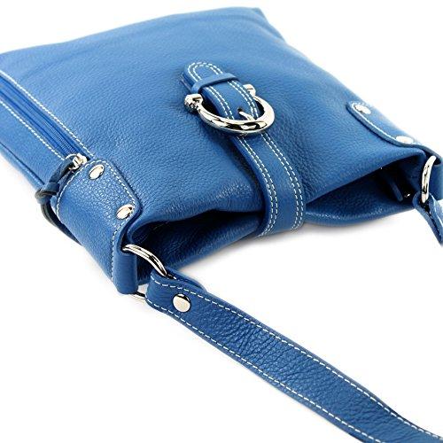 modamoda de - ital. Ledertasche Umhängetasche Messenger Echtleder Citytasche klein T04 Blau