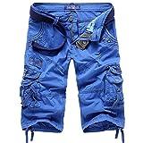Bermudas Shorts Herren Cargo Kurze Hose Knielang Blau 31