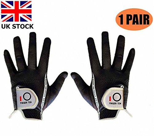 Finger Zehn Herren Golf Handschuh Paar beide Hand Value Pack Hot Wet Rain Grip, Farbe schwarz grau Fit Small Medium Large XL, Schwarz, M-1 Pair -