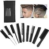 9PCS Profi Hair Styling Kämme Haarschneidekamm, Friseur Zubehör Geräte Set mit tasche für Damen und Herren