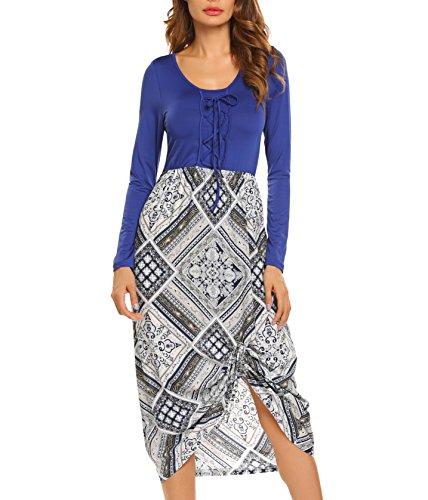 Meaneor Damen Herbst Elegant Langarm Kleid mit Schnürung Patchwork Rundhalsausschnitt Strandkleid Partykleid Druckkleid Freizeitkleid Blau+Weiß (kariert)