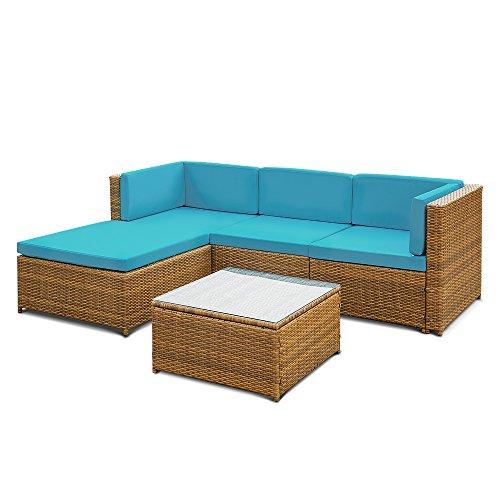 ikayaa patio corner sofa couch table set garden furniture
