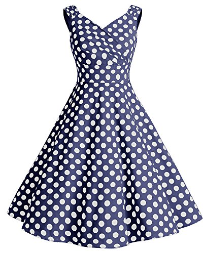 Bridesmay Damen Vintage 50S Retro Partykleid Rockabilly Knielang Cocktailkleid Navy White Dot 3XL (Amazon Formale Lange Kleider)