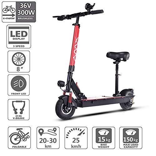 ZXC0226 Elektroroller Scooter,USB-Aufladung und LCD-Display,30Km Lang Reichweite und MAX Geschwindigkeit 25km/h,300W Motor,8 Zoll Reifen,150kg Tragkraft Ultralight Erwachsener Stadtpendler-Roller