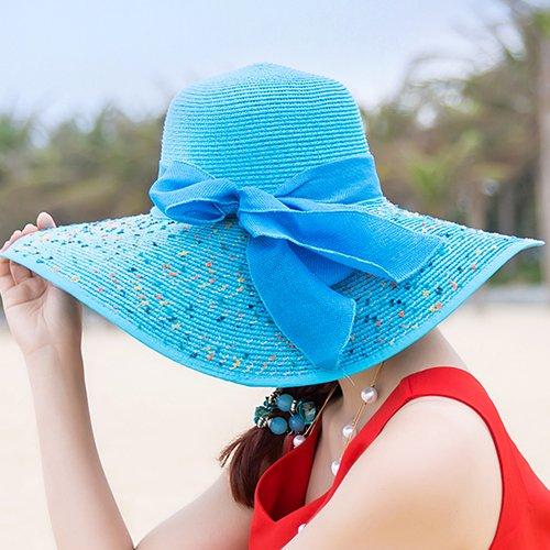 upper-dame-le-pliage-dun-chapeau-de-paille-beach-hat-chapeau-de-soleilrepere-58cmbleu-ciel