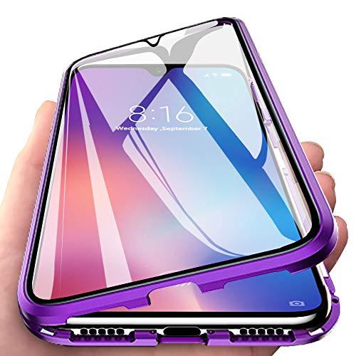 Eabhulie Xiaomi Mi 9 Hülle, Vollbildabdeckung Gehärtetem Glas mit Magnetischer Adsorptionskasten Metall Rahmen 360 Grad Komplett Schutzhülle für Xiaomi Mi 9 Lila
