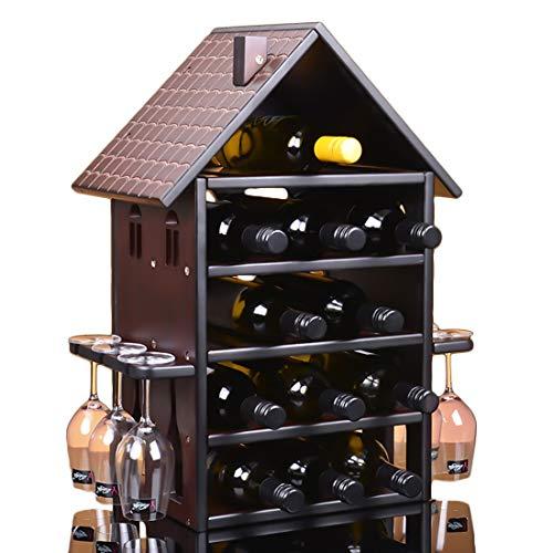 LiShihuan Stapelbares Weinregal Holz Kapazität Lagerung 14 Flaschen für Vino Bars Keller Arbeitsplatte Wohnungsmöbel Urban Living, Holz, Large (Bar-arbeitsplatten Holz)