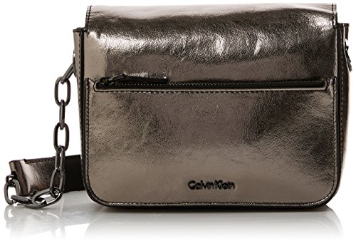 Calvin Klein Night Out Small Shoulder Bag Metalic, Sacs bandoulière femme, Gris (Gun Metal), 7x15x21 cm (B x H T)