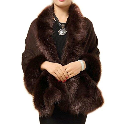 ZAKASA Damen/Frauen Faux Pelz Trim Bat Strickjacke Cape Poncho Umhang Schal Coat Luxus Braut Wraps Pullover Cape - Faux-pelz-schal Braun