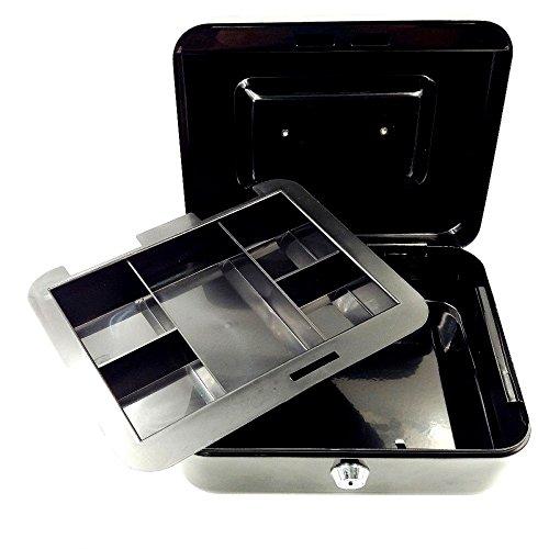 JZK Schwarz premium Geldkassette, 195 x 155mm, kleine Dokumente Sicherheit Kasse Geld Aufbewahrung Box Kassette mit herausnehmbarem Wechselfach und 2 Schlüsseln