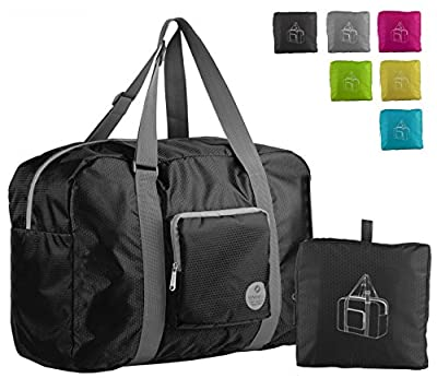 WANDF Foldable Travel Duffel Bag Super Lightweight for Luggage, Sports Gear or Gym Duffle, Water Resistant Nylon
