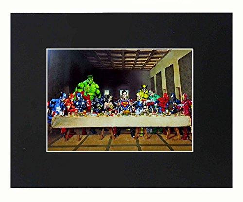 XQArtStudio Superhelden Superheld Anime Cartoon Dope Das Letzte Abendmahl 8x 10Schwarz mattierte Kunstdruck Kunstwerke Gemälde Bedruckt Bild Foto Geschenk Poster Wall Decor Display USA Verkäufer