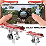 Happy tch PUBG Mobile Game Controller Shoot/aim Buttons Joystick Cellphone Gamepad Compatible Triggers for PUBG/Knives Out/Rules of Survival L1R1 for Android Phones Red (Metal)