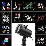 Salcar LED Effektlicht, LED Projektor Lichter mit 12 Motiven, dynamisch/statisch, 3 Stufen Geschwindigkeiten, innen/außen IP65, 6 Stunden Timer, Gartenleuchte Projektor, Mauer Dekoration, Party Licht, Gartenlicht für Festen, Weihnachten, Karneval