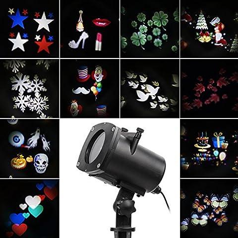 Halloween éclairage LED effet avec 12 dessins, dynamique / statique, 3 vitesses de marches, intérieur / extérieur IP65, 6 heures minuterie, Lumiere De Noël Projecteur