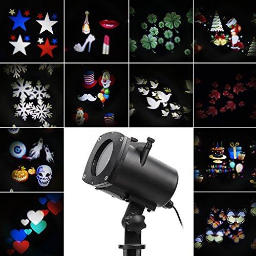 Haus Halloween (Halloween LED Effektlicht, LED Projektor Lichter mit 12 Motiven, dynamisch/statisch, 3 Stufen Geschwindigkeiten, innen/außen)