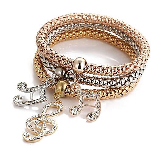 Armband Armreif,Schmuck Geschenk, 3Pcs/Set Fashion Mosaic Cubic Zirconia Key Lock Elastic Charm Bracelets for Women Gold Color Creative Popcorn Corn Chain Jewelry Note