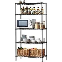 Estante- Estante de la cocina del estante de la cocina del estante de la cocina de YONGMEI los 75 * 30 * 150cm, envía el tablero de los PP (Color : NEGRO)