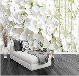 Moderne Abstrait Blanc Perle Bijoux Fleurs 3D Stéréo Murale Papier Peint Salon Chambre Toile De Fond Art Papiers Peints Pour Les Murs 3 D 250x175cm