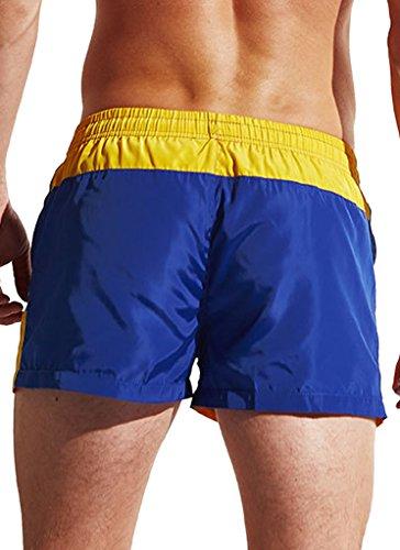 Ecute Herren Badehose Kurz Boardshorts Beachshorts Quick Dry Swimshorts Badeshorts Gelb