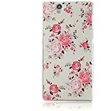 YOKIRIN Sony Xperia Z L36H C6603 Case Pink Blume Muster Weiß Bemalt PC Plastik Hart Cover Hardcase Schutzhülle Transparent Handyhülle Backcover Harte Rückseite
