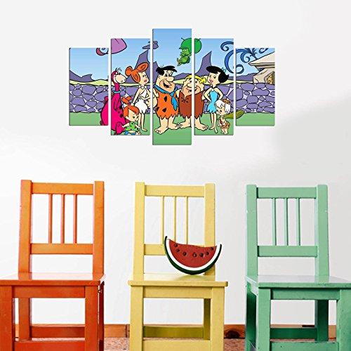 LaModaHome Deko 100% MDF Art Wand 5Elementen (109,2x 61cm Gesamt) fertig Zum Aufhängen Malen Die Flintstones Zwei Happy Families Stand Together Dino Multi Varianten in ()
