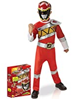 Questo costume da Power Rangers é sotto licenza ufficiale.Si compone di una tuta e di una mezza maschera. La tuta rosso vivo ha una cintura finta disegnata sul davanti. La tuta é elastica allaltezza del giro vita e si chiude dietro la schiena...