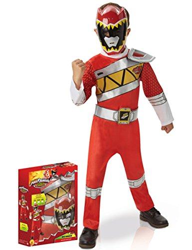 Rubies–i-620422M Aufladen–Power Rangers Deluxe Dino-Outfit Dekoration, Rot, Größe M
