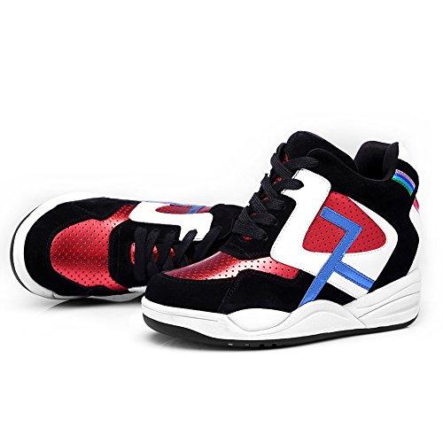 Shenn Donna Allacciato Cuneo Caviglia Alto Casuale Pelle Sneaker Scarpe Nero&Rosso