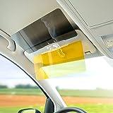 Fheimin® Tag- und Nacht Autoblendschutz,2 in 1 Auto Transparent Anti-Glare Glas Auto-Sonnenblende, Dauerhafte Anti Glare Blendschutzring Clip-on Auto Auto Sonnenblende Spiegel Sonnenblende
