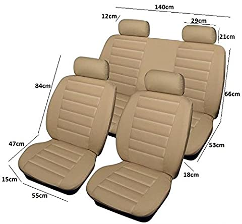 FRONT PAIR OF BEIGE AIRBAG LEATHER LOOK CAR SEAT COVER PROTECTORS BEST QUALITY