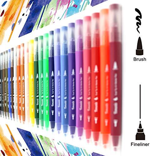 Tomaxis 24 pennarelli con Doppia Punta Pennello, con Punta fine da 0,4 mm e Punta Brush, per Bullet Journal, colorare e disegnare Pen