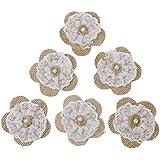 WINOMO 6pcs yute de arpillera de encaje de flores novia boda Decor rústico Craft DIY decoración para hacer
