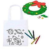 Lote 30 Bolsas Infantiles para Colorear Espacio más 1 Guirnalda Infantil en Goma Eva, para Que el niño la decore y la utilice para adornar la casa en Navidad.