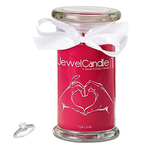 """JewelCandle, bougie parfumée """"True Love"""" avec un bijou surprise en argent (Bague) d'une valeur allant de 10 à 250 €"""