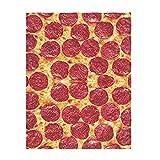 YISUMEI Decke 150x200 cm Kuscheldecken Sanft Flanell Weich Fleecedecke Pizza Druck