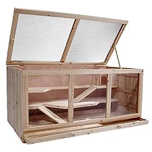 Großer Hamsterkäfig Mäusekäfig Nagerkäfig Rattenkäfig, ca. 115x60x58cm, Holz
