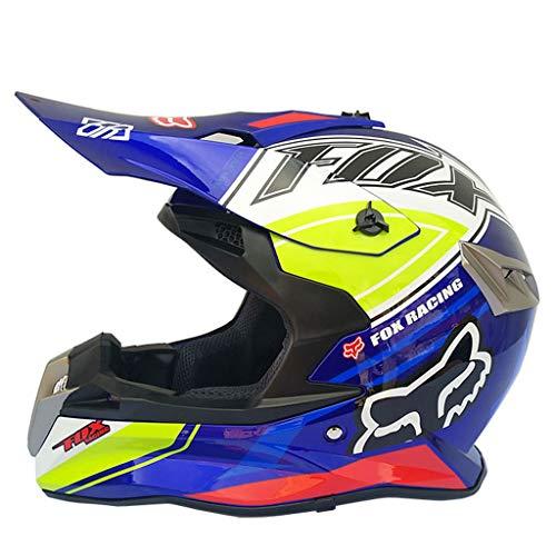 Preisvergleich Produktbild LXMJ Helm,  Ganzjahreshelm,  Motorrad / Off Road Rennsport für Männer,  kostenlose Maskenhandschuhe,  Geeignet für Kopfumfang von 60 bis 63 cm (23, 6 bis 24, 8 Zoll),  Blauer Zauber