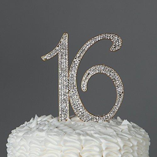Sweet Sixteen 16Cake Topper, Strass sechzehnten Geburtstag Dekoration gold
