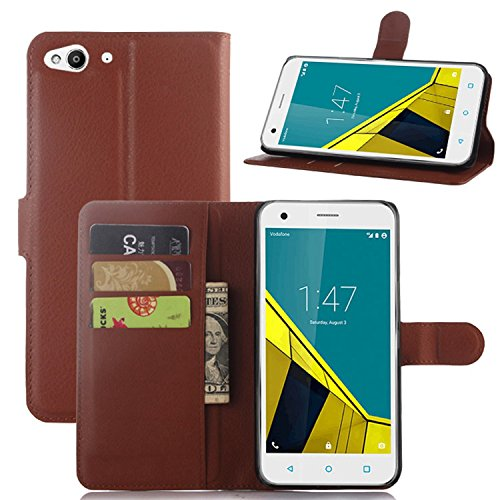 Tasche für Vodafone Smart Ultra 6 Hülle, Ycloud PU Ledertasche Flip Cover Wallet Case Handyhülle mit Stand Function Credit Card Slots Bookstyle Purse Design braun