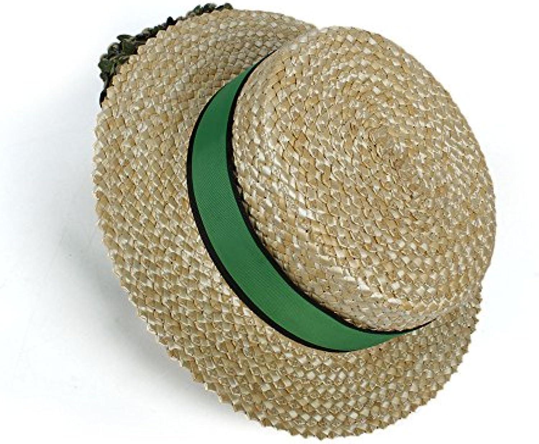 2018 Cappello di da Sole di Cappello Paglia per Le Donne con Cappello verde  Boater Sunhat (Coloreee Naturale 28a599e04754