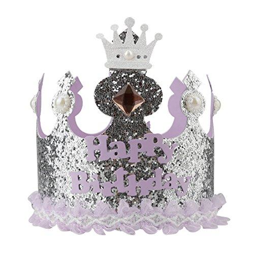 A-szcxtop Pure hecho a mano corona cumpleaños gorra para niños Record el crecimiento Kid 's cada apto para ambos chicos y chicas buen regalo para niños, morado