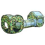AILSAYA 3 en 1 Enfants Jouent Tente Tunnel Camouflage Jeu Maison Jouet Éducatif, Tente Bébé carré Cubby Teepee Tunnel Rampant Tente Ensembles Enfants En Plein Air intérieur Playhouse Hut