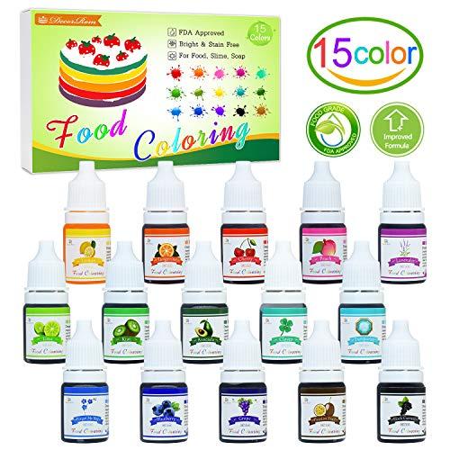 Lebensmittelfarbe - 15 Flüssige Lebensmittel Farben Set für Kuchen Backen, Kekse, Macaron - Hochkonzentrierte Food Coloring für Kuchendekoration, DIY Slime, Kunsthandwerk Einfärben - 6ml jeder (Zucker Gelee Ohne)