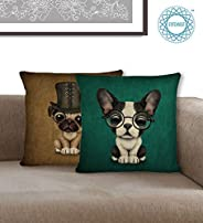 STITCHNEST Unique Cute French Bulldog and Pug puppy with monacle, Digital Print Jute Cushion Cover, 16 X 16 in