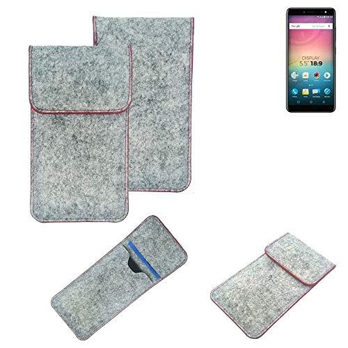K-S-Trade® Filz Schutz Hülle Für -Allview V3 Viper- Schutzhülle Filztasche Pouch Tasche Case Sleeve Handyhülle Filzhülle Hellgrau Roter Rand