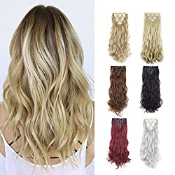 FUT 3-5 Days Delivery 23inch 160g Straight Full Head 16 Clips in Double Weft Synthetic Hair Pieces Extensions 7 PCS for Girl Lady Women Silver Grey