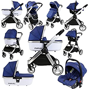 iSafe Marvel 3in1 Travel System Includes Car Seat & Carrycot (Navy Pearl)   1