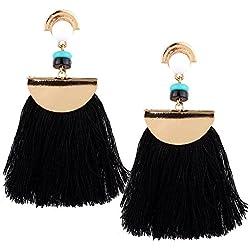 Borla flecos pendientes, Ularma Mujeres Vintage Boho Bohemio Pendientes Larga Borla Flecos Cuelgan Aretes Moda (Negro)